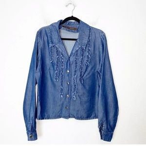 Double D Ranch Chambray Ruffle Button Up Shirt